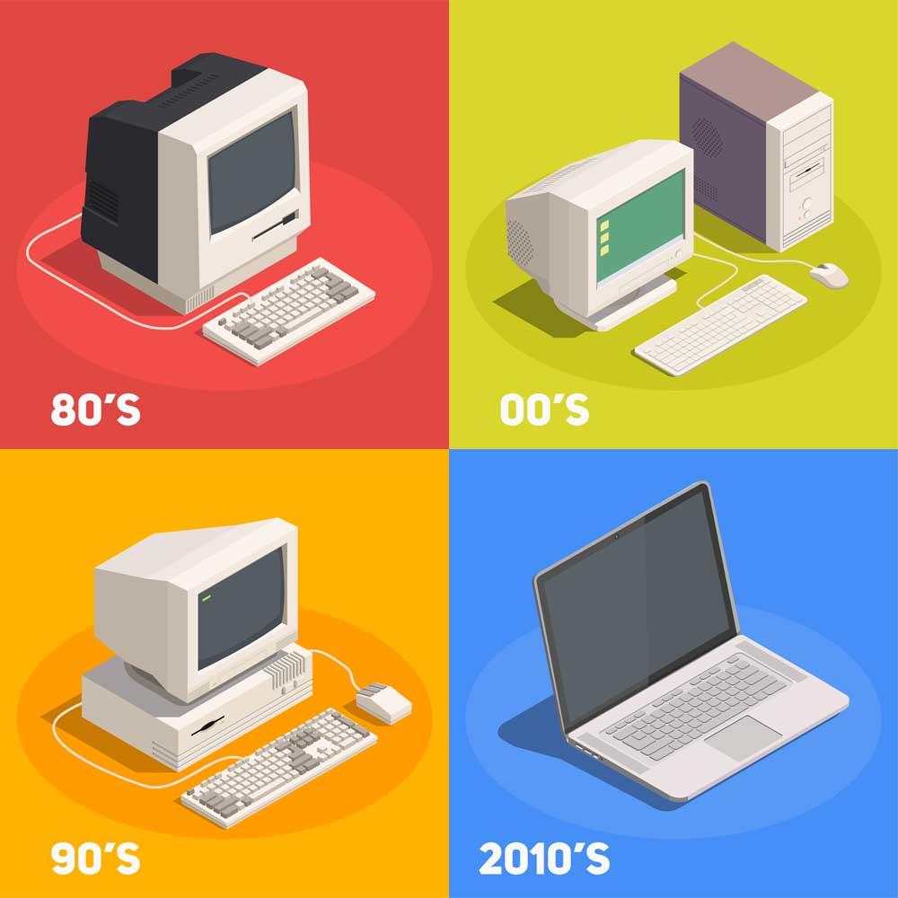Notebook Laptop: Vergleich der Jahrzehnte