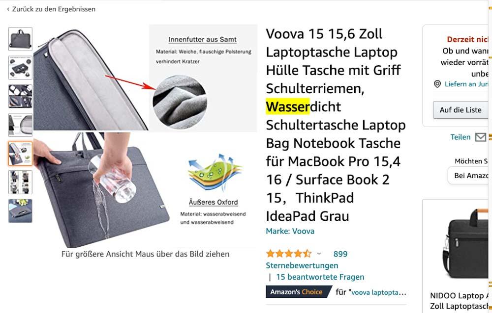 Wasserdichte Laptoptasche Case Screenshot